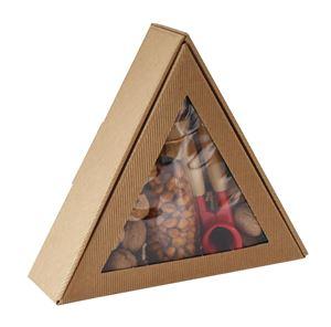 Afbeelding van Pak à 25 vensterdoos 26x26x26x7 cm open golf naturel met driehoek venster