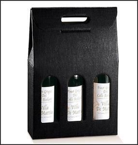 Bild von Draagkarton 3 fles zwart 27x9x38,5 cm