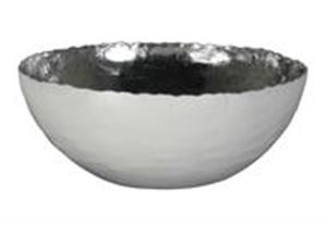 Afbeelding van Metalen schaal rond 20x8 cm wit met zilveren binnenzijde