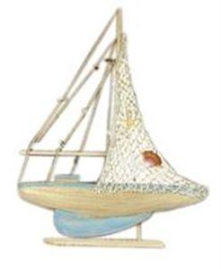 Afbeelding van Houten zeilboot 35x5,5x50 cm.
