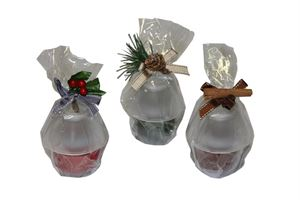 Afbeelding van Kerstkaars in glas 3 assorti