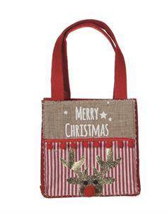 Afbeelding van Kerst draagtas vlilt klein met rendier 15+7x15 cm