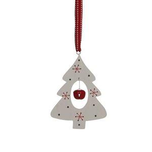 Afbeelding van Hangdecoratie Kerstboom wit met lint en bel 9,5x12x0,7 cm