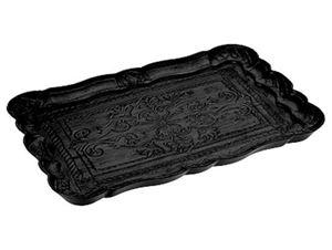 Afbeelding van Houten dienblad 29,5x19,5 cm zwart met houtsnede (uc)