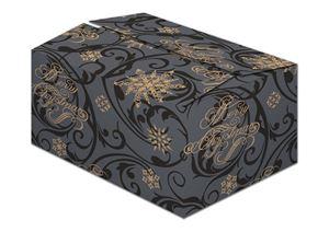 Afbeelding van Kerstdoos D230 Snowflakes zwart 45x35x23 cm