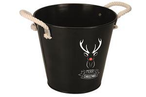 Afbeelding van Emmer  24.5/16x21.5 cm zwart met hert & Merry Christmas