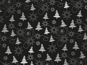 Picture of Kerst-Papier 50cm/100m  denneboom zwart/zilver