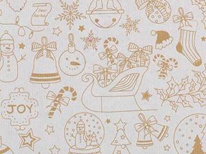 Picture of Rol Kerst-Papier 50cm/100m kerst tekeningen wit op bruin