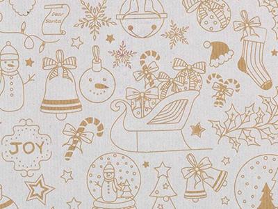 Picture of Rol Kerstpapier 50 cm/100 mtr kerst tekeningen wit op bruin