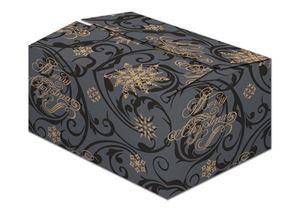 Afbeelding van Kerstdoos eb golf 54x34x23 cm Snowflakes zwart
