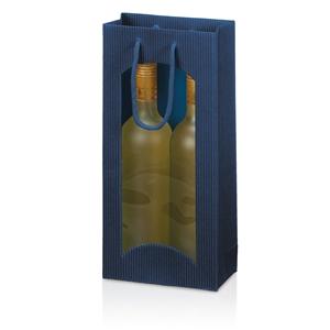 Afbeelding van Pak à 20 2 fles draagtas open golf + venster donker blauw
