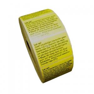 Bild von Rol à 2000 etiket  geel met waarschuwing kip/poeliers