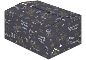 Afbeelding van Kerstdoos C130 Santa zwart 39x29x13 cm