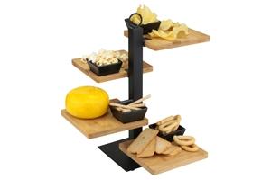 Afbeelding van Serveertray 4 laags met bamboe plankjes en zwarte keramieken bakjes