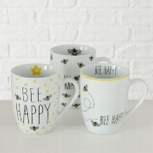 Picture of Beker porselein 330 ml Bee Happy assorti