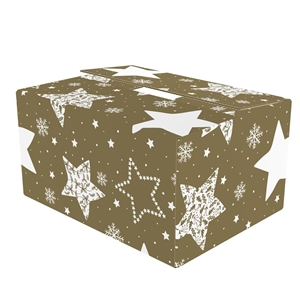 Picture of Kerstdoos A-klein Stars goud 29x20x10 cm